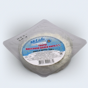 Cottage cheese 5% fat, packaged multilayer film-laminate